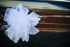 Romantic Decoration Flower on Wedding Car in Black Stock Photo