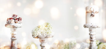 Romantic decoration with wedding rings Stock Photo