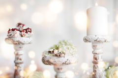 Romantic decoration with wedding rings Royalty Free Stock Image