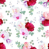 Romantic delicate seamless vector print in purple, red and white tones Stock Images