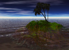Romantic Desert Island with Palm Tree Royalty Free Stock Image