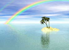 Romantic Desert Island with Palm Tree and Rainbow Royalty Free Stock Photo