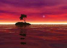 Romantic Desert Island with Palm Tree Silhouette Royalty Free Stock Photos