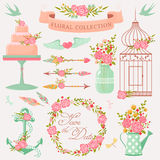 Romantic design elements. Romantic floral collection. Vector design elements with cute flowers. Pretty decorations  on white background Royalty Free Stock Photography