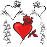 Romantic design elements vector. Clip-art set for Valentine's day design Royalty Free Stock Image