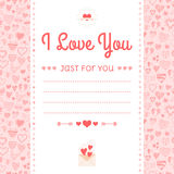 Romantic design, labels, icons elements, ornament of hearts Royalty Free Stock Images