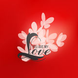 Romantic design with love lettering and butterflies Stock Images