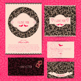 Romantic design set for postcards, invitations, cards, folders, envelopes design Stock Photo