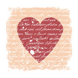 Romantic Design Template. Handwritten texture. Heart shape, grunge frame and stains. Vector Royalty Free Stock Photo