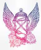 Romantic design of a winged hourglass with roses. Hand drawn romantic beautiful drawing of a hourglass. Vector illustration isolated. Tattoo design, mystic time Royalty Free Stock Photography