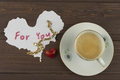 Romantic desire to VALENTINES DAY. Coffee, cards and gift of love. Royalty Free Stock Image
