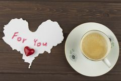 Romantic desire to VALENTINES DAY. Coffee, cards and gift of love. Royalty Free Stock Images