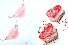 Romantic dessert for two. On light-blue background royalty free stock image
