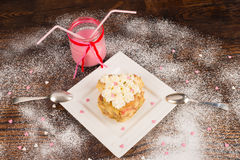 Romantic dessert for two stock photos