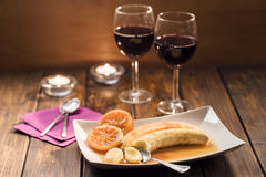 Romantic dessert and wine for two in rustic style Royalty Free Stock Images
