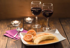 Romantic dessert and wine for two in rustic style Royalty Free Stock Image