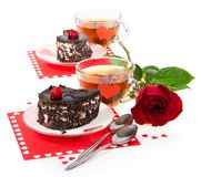 Romantic desserts and tea for two people Stock Photo