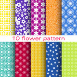 10 Romantic different flower vector seamless patterns. Endless texture can be used for printing onto fabric and paper or scrap booking. Floral shapes stock illustration