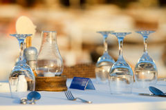 Romantic dining. Table set for romantic dining outdoors or party Royalty Free Stock Images