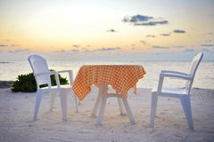Romantic dining area in Maldives Stock Photos