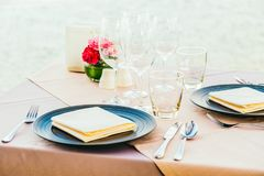 Romantic dining table setting with wine glass and other Stock Photos