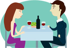 Romantic dinner. A couple having a date Stock Images