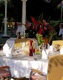 Romantic dinner. Set table for romantic dinner at the restaurant patio Stock Image