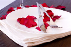 Romantic dinner. With red petals Royalty Free Stock Images