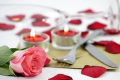 Romantic dinner. A metapher for a romantic dinner Stock Images