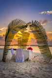 Romantic dinner at the beach. Beautiful place for romantic dinner at the beach in front of sunset Stock Images
