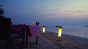 Romantic Dinner on the Beach stock video