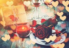 Romantic dinner for the beloved. Selective focus Royalty Free Stock Images