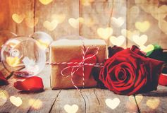 Romantic dinner for the beloved. Selective focus Royalty Free Stock Photos
