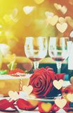 Romantic dinner for the beloved. Selective focus Royalty Free Stock Photography