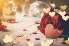Romantic dinner for the beloved. Selective focus Royalty Free Stock Photo
