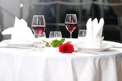 Romantic dinner. With candle for two person Stock Images