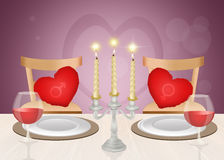Romantic dinner candlelight. Illustration of romantic dinner candlelight Royalty Free Stock Photos
