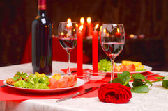 Romantic dinner with candles Royalty Free Stock Photography