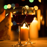 Romantic dinner. With candles and wine Stock Images