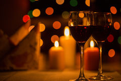 Romantic dinner. With candles and wine Royalty Free Stock Image