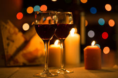 Romantic dinner. With candles and wine Royalty Free Stock Photo