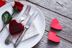 Romantic dinner concept. Valentine day or proposal background Royalty Free Stock Photo