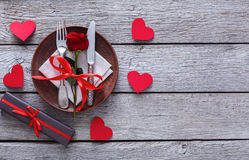 Romantic dinner concept. Valentine day or proposal background Stock Photo