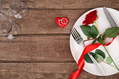 Romantic dinner concept. Valentine day or proposal background. Royalty Free Stock Photo