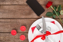 Romantic dinner concept. Valentine day or proposal background. Stock Image