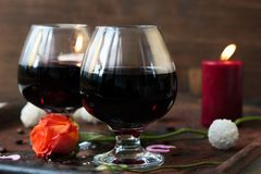 Romantic dinner concept - wine in glasses for lovers. Romantic dinner concept - wine in glasses for lovers stock photos