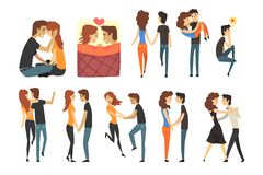 Romantic dinner dating couples set. Lovers walking, dancing, holding hands, guy carrying the girl in his arms, man. Romantic dinner dating couples set, boy and stock illustration