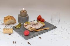 Romantic dinner, elegant dishes, candlelight dinner, romantic TV set stock images