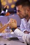 Romantic dinner with engagement Stock Photo