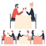 Romantic dinner. Happy couples sitting at restaurant table. Happy Valentine`s Day. Romantic dinner. Happy couples sitting at restaurant table. Vector royalty free illustration